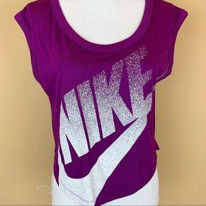 Nike cropped organic cotton blend muscle tee shirt